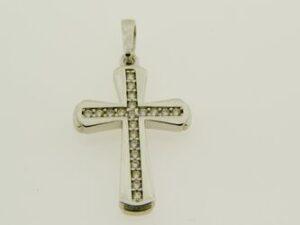 ЗЛАТНИ БИЖУТА Златни Висулки Златна висулка кръст от бяло злато с цирконий
