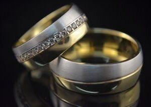 ЗЛАТНИ БИЖУТА Венчални Халки Венчална халка в бяло и жълто