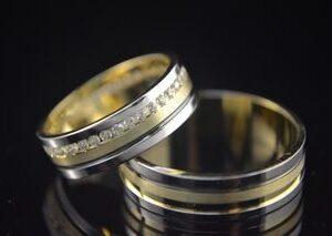 ЗЛАТНИ БИЖУТА Венчални Халки Венчални халки от жълто и бяло злато с гланц и мат