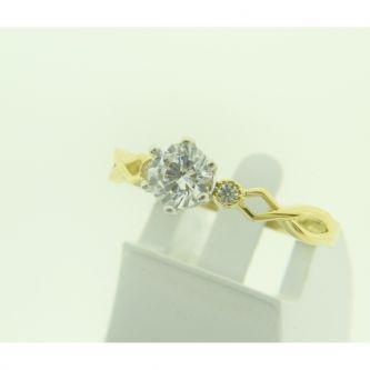 Златен годежен пръстен с мотив безкрайност и циркони