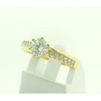 Годежен пръстен от жълто злато с камък циркони