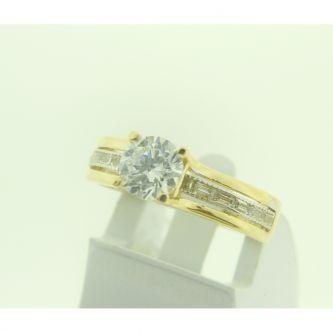 Класически годежен пръстен в жълто злато
