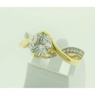 Годежен пръстен в жълто злато с камъни циркони
