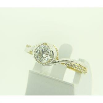 Годежен пръстен с жълто и бяло злато