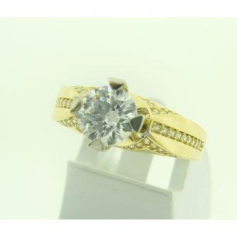 Годежен пръстен жълто и бяло злато