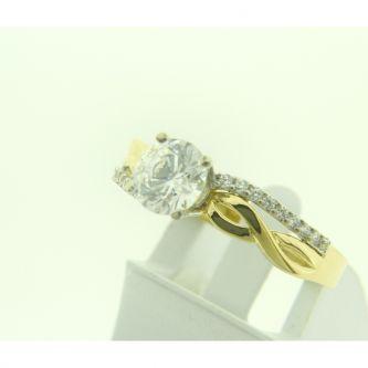 Годежен пръстен от жълто злато с мотив безкрайност