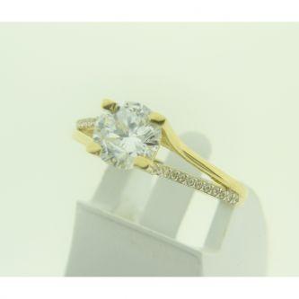 Годежен пръстен с камъни в жълто злато