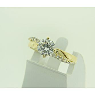 Жълто злато годежен пръстен