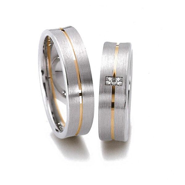 Венчални халки произведени от HUGASIAN от бяло и жълто злато с циркони.