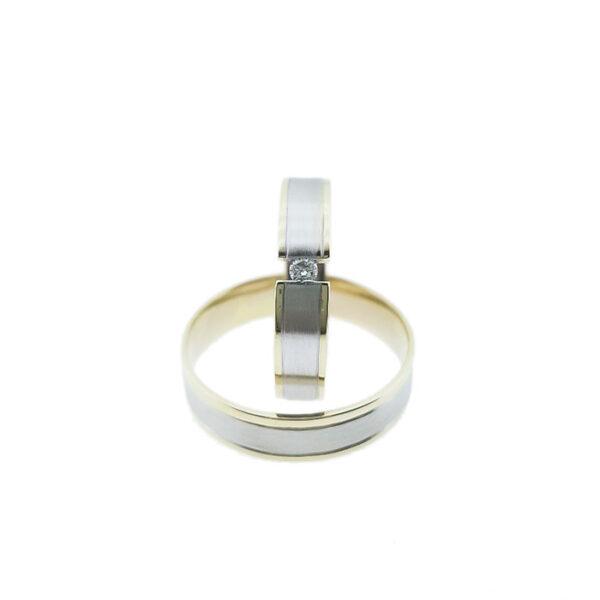 Венчални халки от жълто и бяло злато