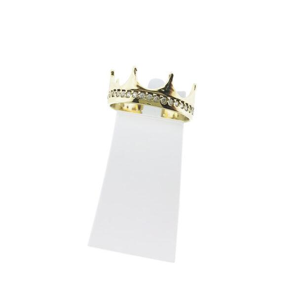Златен пръстен корона с циркони
