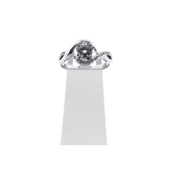 Годежен пръстен от бяло злато с циркони